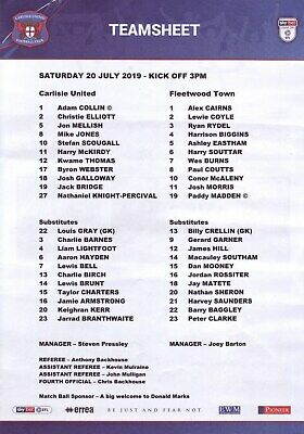 Carlisle United v Fleetwood Town 2019-20 pre-season friendly team sheet
