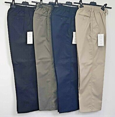 Mens Cotton Rugby Trousers Uk Made Elasticated Waist Casual Smart Pocket Pants