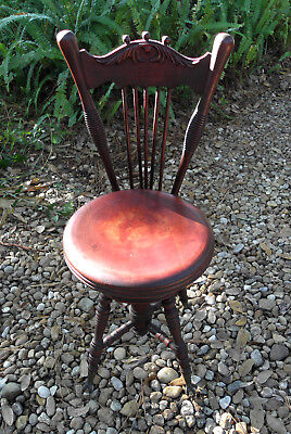 Antique Mahogany Chair Back Adjustable Piano Stool