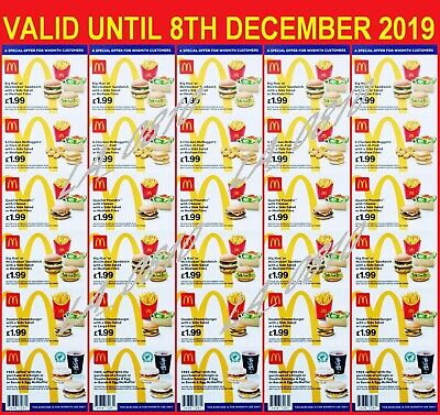 30 x MCDONALDS DEAL VOUCHERS COUPONS - VALID UNTIL 10TH NOVEMBER 2019