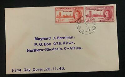 1946 Kitwe Northern Rhodesia First Day Cover FDC Victory Issue