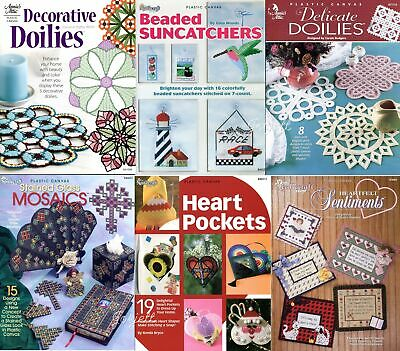 Lot of Plastic Canvas Pattern Books, 60+ Beaded Stained Glass Hearts Gifts NEW