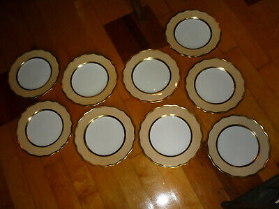 Beautiful Antique Cauldon Ltd. China Dinner Plates/ White,Beige,Gold/ Very Nice!