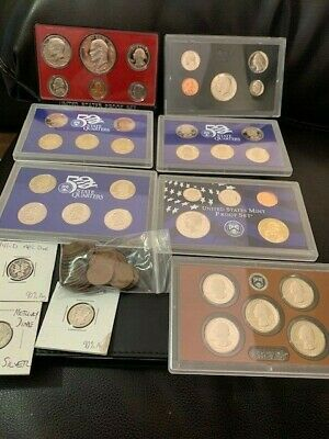 Huge Coin Collection Lot Proof Sets Silver dollar quarter Silver-Mercury-Wheat