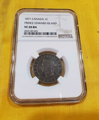 1871 Canada 1C Prince Edward Island Vf 20Bn Ngc Graded Rare Large Cent