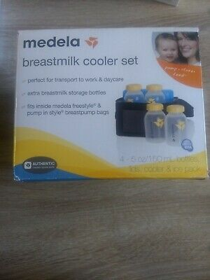 Madela Breastmilk Cooler Set 4-5 oz bottles, lids, cooler and ice pack