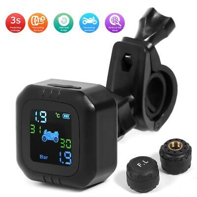 Motorcycle TPMS Tire Pressure Wireless Monitor External Pressure w/2pcs Sensors