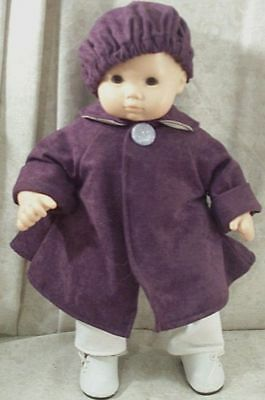 "Doll Clothes Baby Bitty Handmade 4 American Girl 15"" inch Coat Beret Suded Plum"