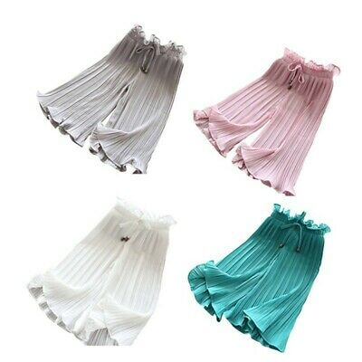 2-10Y Kids Baby Girl Pleated Wide Leg Bows High Waist Casual Trousers Crop Pants