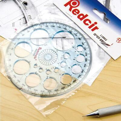 360 Degree Full Circle Plastic Protractor Angle Finder Measuring Ruler-Temp O5A5