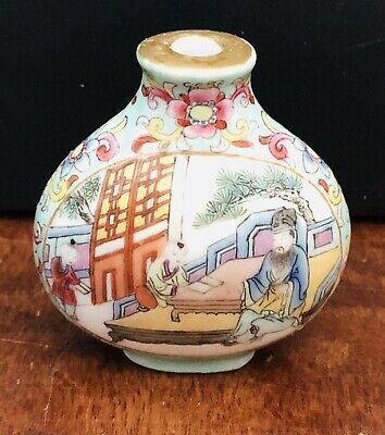 Chinese Porcelain Snuff Bottle Family Scene Signed Hand Paint Late 19th Century