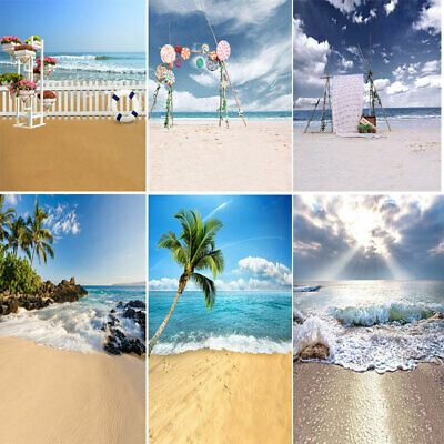 Tropical Sea Sand Beach Palm Tree Photography Backdrop Holiday Scenic Background