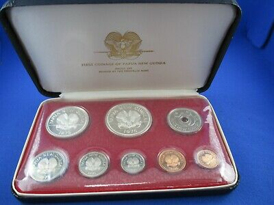 1975 The First Coinage Of Papua New Guinea. 8 Coin Proof Set