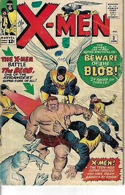 """Uncanny X-Men 3 First Blob GVG 1964 Glossy """"KEY ISSUE"""""""
