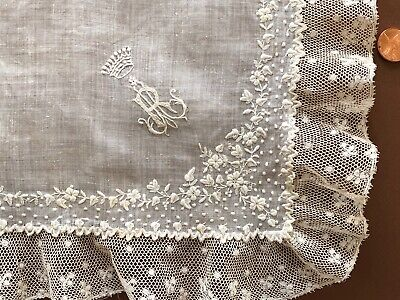 19th C. white embroidered and valenciennes lace handkerchief w coronet COLLECTOR
