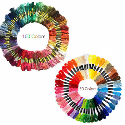 100pc Multi DMC Colors Cross Stitch Cotton Embroidery Thread Floss Sewing Skeins