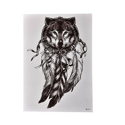 Waterproof Wolf Dreamcatcher Temporary Tattoo Large Arm Body Art Tattoo StickSC