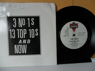 """The Kinks.how Are You.free With Music Week.london.7"""" Vinyl.45 Rpm"""