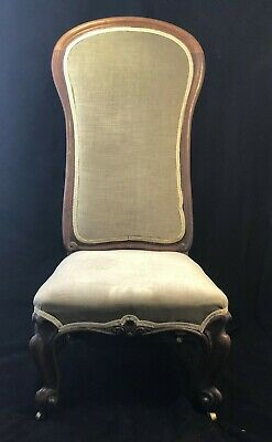 Wonderful Victorian Prayer Chair / Prie Dieu Chair Sage Green Velvet / Antique