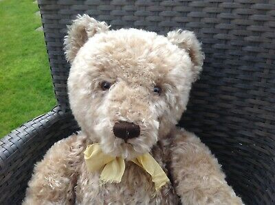 A Super Vintage  1950's Large Curly Steiff  Teddy  Bear With Button