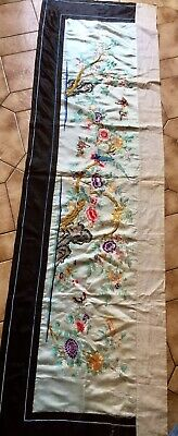 """China Antique Early 20C Silk Hand Embroidered Tempo Altar Cloth 74x21.5"""" Used"""