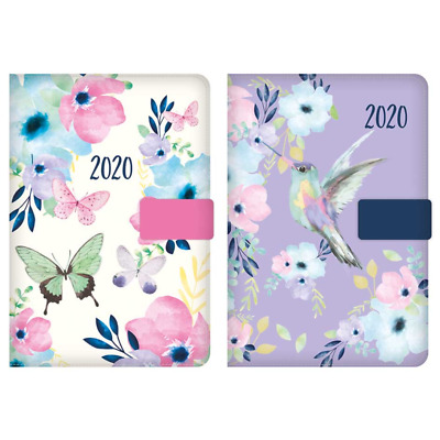 2020 Diary A5 Ladies Butterfly Or Bird Index Diary, With Button Clip Day To Page