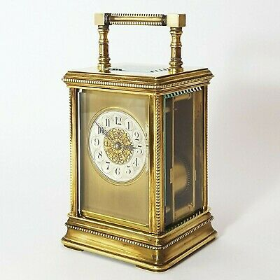 French Cannelee Cased Beaded Striking Carriage Clock c.1900