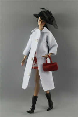 5in1 Set Fashion Outfit woolen WHITE Coat+skirt+hat+bag+boots for 11.5 in. Doll