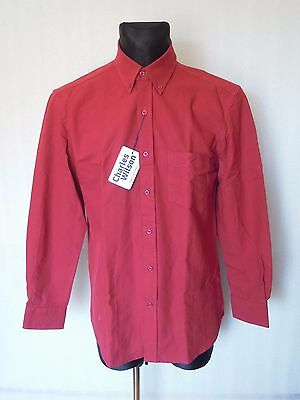 CHARLES WILSON OXFORD Red Long Sleeve Men's Cotton shirt Size M