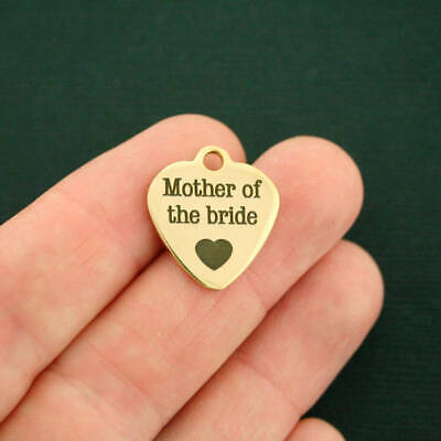 Mother of the Bride Gold Stainless Steel Charm  - Quantity Options - BFS667GOLD