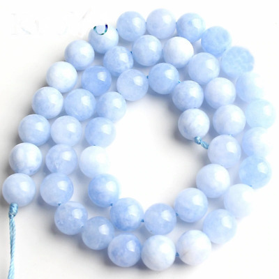 Natural Blue Angelite Stone Beads Round Loose Spacer Beads 15''Strand/Inch