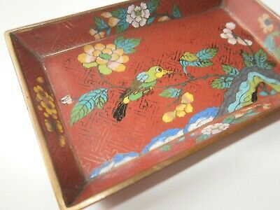 Antique Small Chinese Cloisonne Trinket Dish/ Tray really very old.