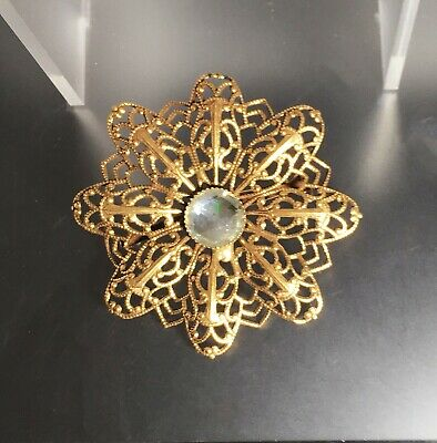 Vintage Antique Round Goldr Ornate Lace w Clear Crystal Pin/Brooch Never Worn