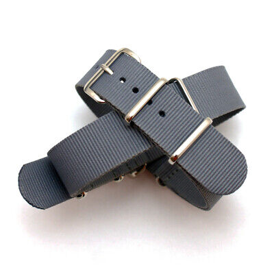 Grey Nato / Nylon Watch Strap : Steel Buckle / Keepers : 19mm or 20mm (FL177)