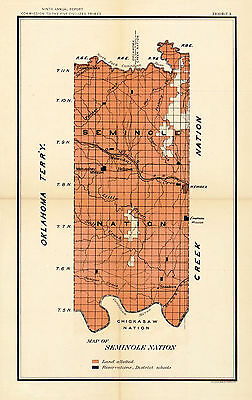 1902 Map of the Seminole Nation Wall Art Poster Print Native American History