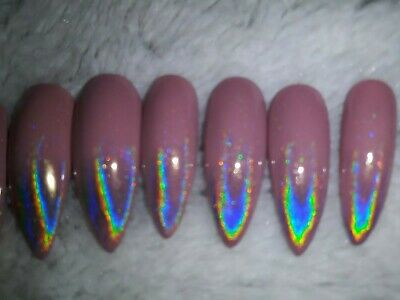 Nude nails holographic bling tips long stiletto press on mauve silver nails holo