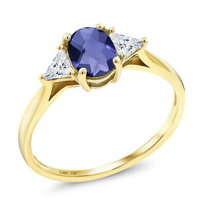 10K Yellow Gold Ring Oval/Checkerboard Iolite Created Moissanite IJK 0.32ct DEW