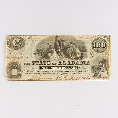 One Hundred Dollar ($100) State of Alabama Confederate Currency 1864 No 771 CR12