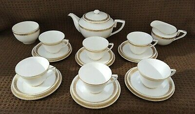 White Gold  Royal Worcester Golden Anniversary Tea Set Incl Teapot, Milk, Sugar