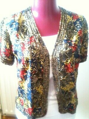 Very Rare Kate Moss for Topshop Silk, Sequin & Beading Bolero Jacket uk 8