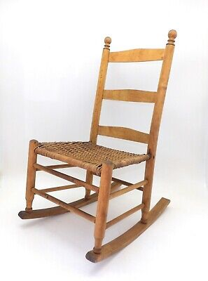 Antique Child's Rocking Chair Pine & Cane Shaker Ladder Back Design Signed