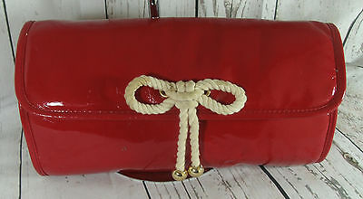 Marks & Spencer Large Red Patent Faux Leather Clutch Shoulder Tote Bag