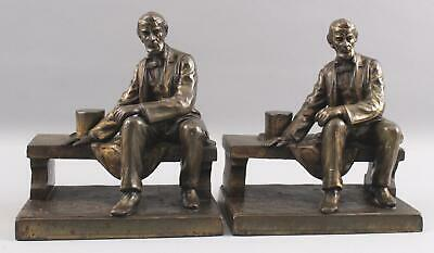Pair Antique Early 20thC Sitting Abraham Lincoln Bronzed  Bookends, NR