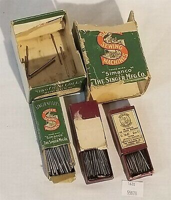 ThriftCHI ~ Lot of (3) Vintage Singer Needles w Contents Excelsior Simanco