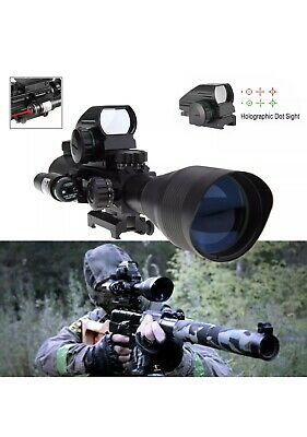 Tactical 4-12X50 EG Rifle Scope with Holographic 4 Reticle Sight & Red Laser