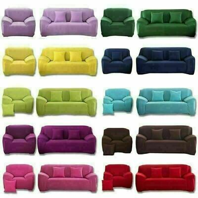 1 2 3 4 Seater Stretch Sofa Covers Couch Chair Cover Elastic Slipcover Protector