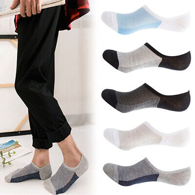 5 Pairs Mens Soft Invisible No Show Nonslip Loafer Boat Ankle Low Cut Socks