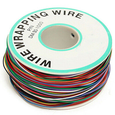 280m 30AWG Copper Wire Wrapping Cable Insulation Test Cable 8-Colored 0.25mm 1*