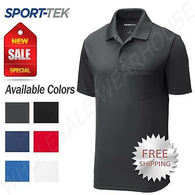 Sport-Tek Mens Cool Dry Fit Wicking Performance Golf Polo Pocket T-Shirt ST640P