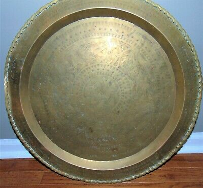 Antique Or Vintage Chinese Asian Brass Hanging Tea Tray Plaque